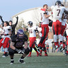 Pat Christman<br /> St. Cloud State players celebrate behind Minnesota State's Max Hofmeister after their 54-48 win Saturday at Blakeslee Stadium.
