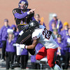 Pat Christman<br /> Minnesota State quarterback Jon Wolf throws over St. Cloud State's Miky Woods during the first half Saturday at Blakeslee Stadium.
