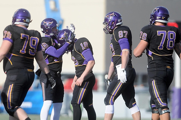 Pat Christman<br /> Minnesota State kicker Sam Brockshus bows his head after a rare field goal miss during the first half Saturday.