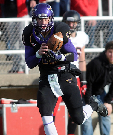 Pat Christman<br /> Minnesota State quarterback Jon Wolf makes a catch for a touchdown during the second half Saturday at Blakeslee Stadium.