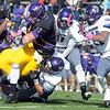 Pat Christman<br /> Minnesota State quarterback Jon Wolf pushes his way into the end zone during the first half Saturday.