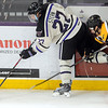 Pat Christman<br /> Minnesota State's Brett Stern keeps the puck away from Michigan Tech's David Johnstone during the third period Saturday at the Verizon Wireless Center.