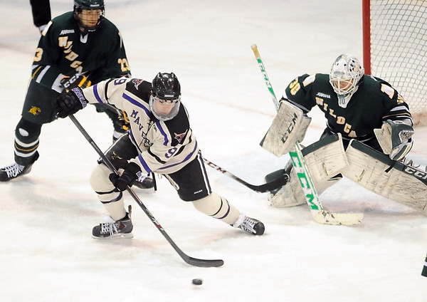 Minnesota State's Bryce Gervais looks to shoot during the first period Saturday at the Verizon Wireless Center. Pat Christman