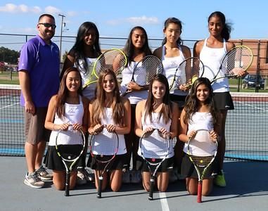 Oct 7 2015 Ladies Tennis Varsity, Team Group shot, Sr Individual mug shots and some action photos of match vs Colonia Patriots