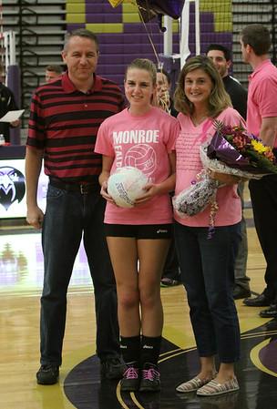 Volleyball Sr. Night 2014 vs Wardlaw School, Oct 16th, Sr. Megan Hyjack honored #12