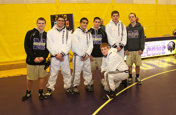 Falcon over Bears of East Brunswick, 34-21, Sal Profacci Jr. logs 100th win, Senior Night honors, Feb. 7 2014
