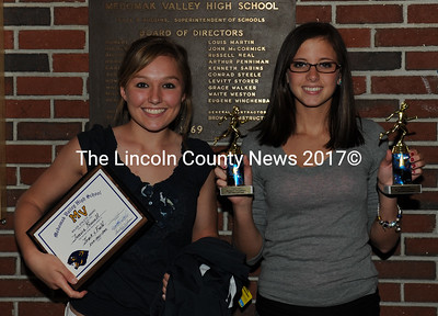 Medomak Valley grils' track recipients Jessica Prescott and Alanna Vose.