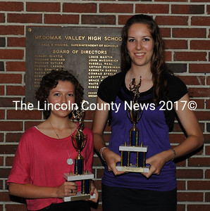 Medomak Valley girls tennis award recipients Isabelle Lobley and Mallory Robbins. Lobley received the Coaches Award, and Robbins the Most Valuable Player, KVAC All Academic, and 3 letter plaque.