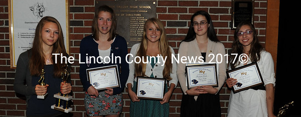 Medomak Valley girls track award recipients Amanda Young, Abigail Vail, Desiree Leary, Brianna Gross and Emily Leach.