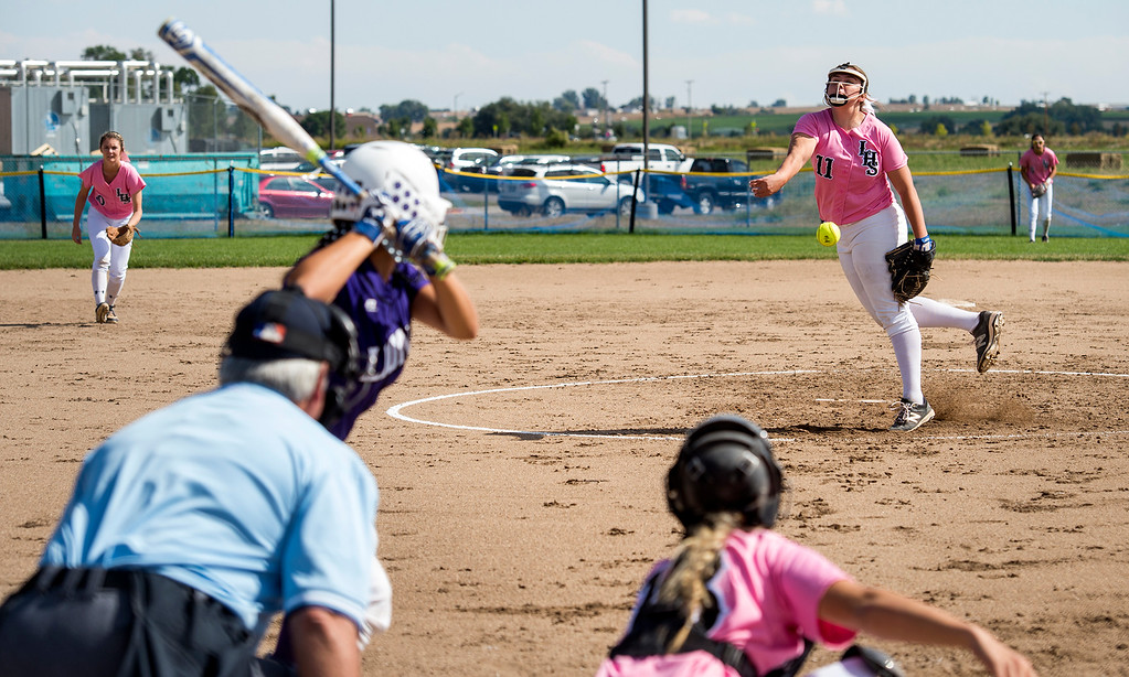 . Loveland\'s Abby Lukkes pitches Saturday afternoon Sept. 17, 2016 during a 5-0 win at Mountain View in Loveland. (Photo by Michael Brian/Loveland Reporter-Herald)