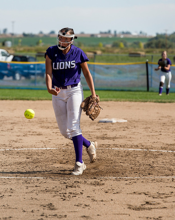 . Mountain Lions\' pitcher Lilly Meza (7) throws against the Indians Saturday afternoon Sept. 17, 2016 as the visiting Loveland team beat Mountain View 5-0. (Photo by Michael Brian/Loveland Reporter-Herald)