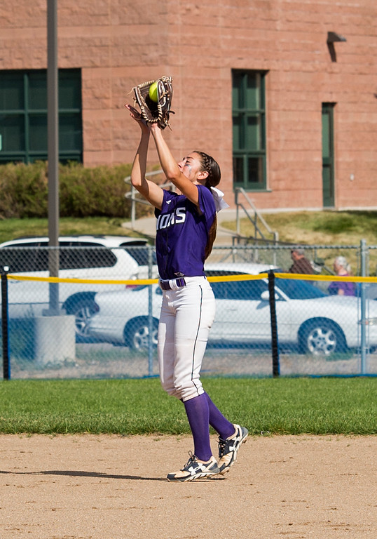 . Mountain View\'s Izzy Griego (5) grabs an infield fly ball for an out against Loveland Saturday afternoon Sept. 17, 2016 as the visiting Indians beat the Mountain Lions, 5-0. (Photo by Michael Brian/Loveland Reporter-Herald)