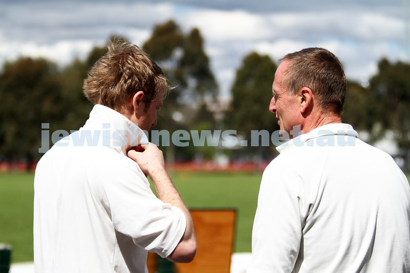 13-10-12. Maccabi Cricket v Powerhouse. Father and son. Dean (left) and Julian Weiner. Photo: Peter Haskin