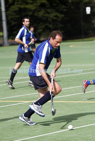 26-8-12. Maccabi Hockey Club senior men defeated Old Carey 6-4 at Albert Park. Gary Beville. Photo: Peter Haskin