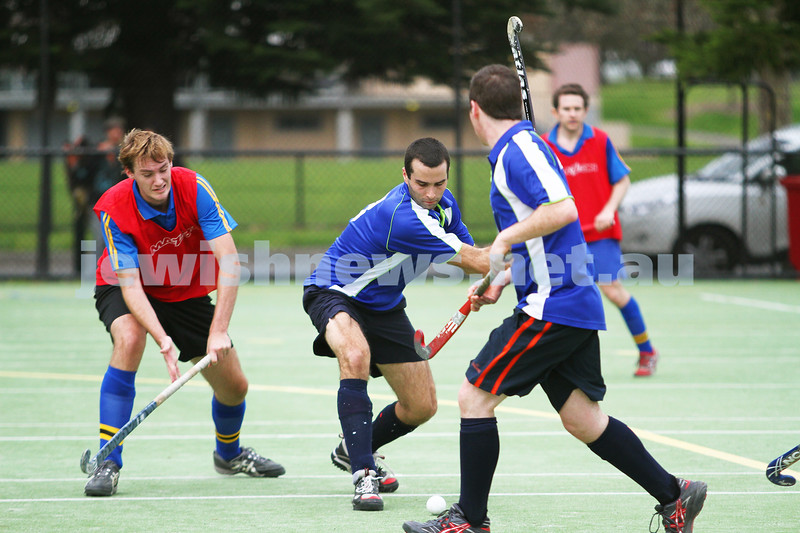 26-8-12. Maccabi Hockey Club senior men defeated Old Carey 6-4 at Albert Park. Another goal  about to be scored for Maccabi. Photo: Peter Haskin