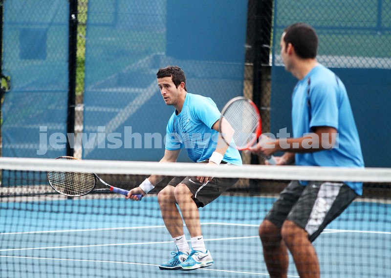 Maccabi Tennis pennent . 26-5-12. Paul Arber (left), Asaf Nagar. . Photo: Peter Haskin