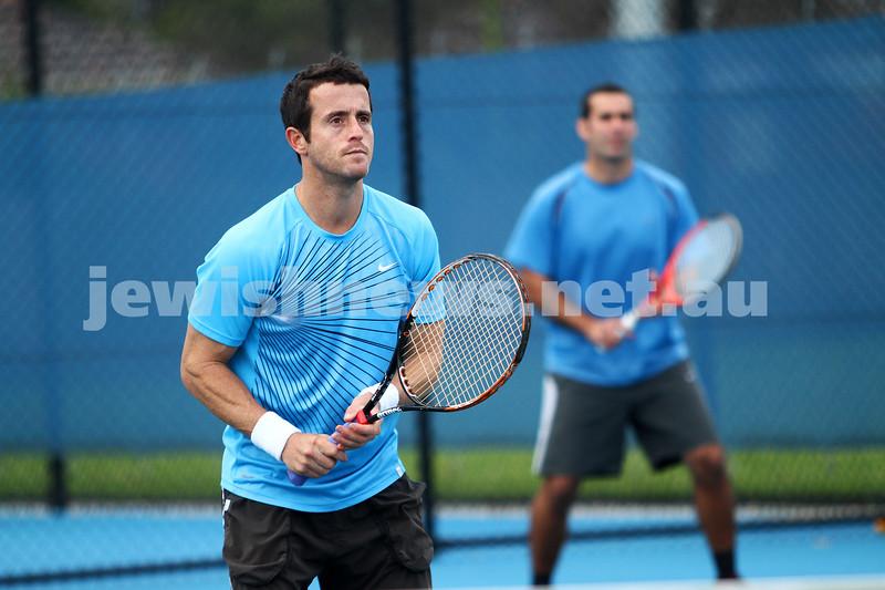 Maccabi Tennis pennent . 26-5-12. Paul Arber (left), Asaf Nagar. . Photo: Peter Haskin