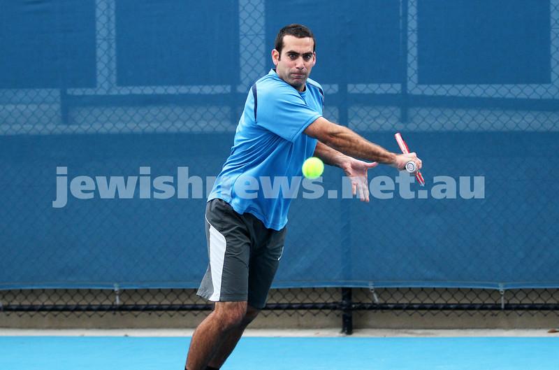 Maccabi Tennis pennent . 26-5-12. Asaf Nagar. Photo: Peter Haskin