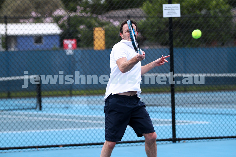 14-4-13. Maccabi Tennis Victorian Championships Men's singles final. Joel Fredman def Stephen Sharp 4-6, 6-3, 6-2. Joel Fredman. Photo: Peter Haskin
