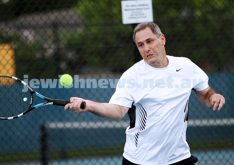 14-4-13. Maccabi Tennis Victorian Championships Men's singles final. Joel Fredman def Stephen Sharp 4-6, 6-3, 6-2. PStephen Sharp. hoto: Peter Haskin