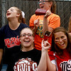 6-21-12<br /> Championship little league game between Lion's Club and McPike<br /> Top Row: Kaila Stiner and Meghan Pier and Bottom Row: Allison Bowlin and Grace Cameron cheer on the McPike team during the championship against Lion's Club on Thursday.<br /> <br /> KT photo | Kelly Lafferty