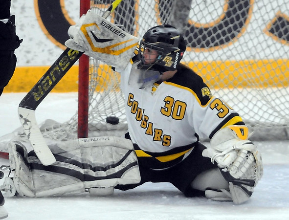 Pat Christman<br /> The puck gets behind Mankato East/Loyola goalie Katie Paulson during the second period of their Section 2A championship game against Litchfield-Dassel-Cokato Thursday at Gustavus Adolphus College in St. Peter.