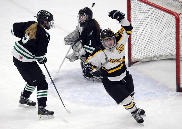 Pat Christman<br /> Mankato East/Loyola's Amanda Broman celebrates a goal during the second period of their Section 2A championship game Thursday at Gustavus Adolphus College in St. Peter.