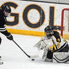 Pat Christman<br /> Mankato East/Loyola goalie Katie Paulson stops a shot by Litchfield-Dassel-Cokato's Kennedy Sommerfeld during the third period of their Section 2A championship game Thursday at Gustavus Adolphus College in St. Peter.