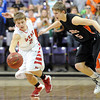 Pat Christman<br /> Mankato West's Jake Makela steals the ball from Marshall's Connor Winkelman during the second half of their Section 2AAA championship game Thursday at Bresnan Arena.