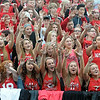 The Mankato West student section cheers during the football team's home opener against Albert Lea Thursday at Todnem Field.  Photo by Pat Christman