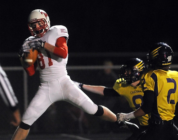 Pat Christman<br /> Mankato West's Will Claussen catches a touchdown pass during the second half of their Section 2AAAAA championship game Friday in Chaska.