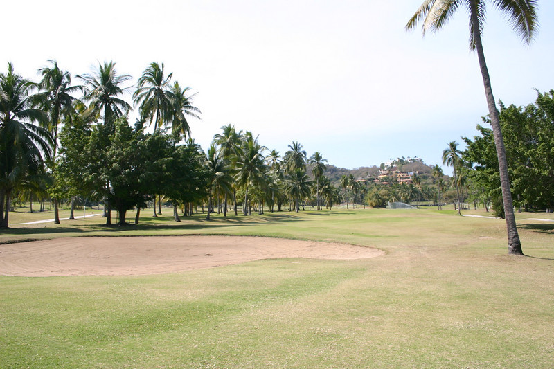 This photo looks back down the third fairway and shows the bunker that cuts across the fairway.  There is no point in avoiding it to the left because palm trees guard the green on that side.