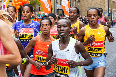 The Women's Elite Runners group at the London Marathon 2015