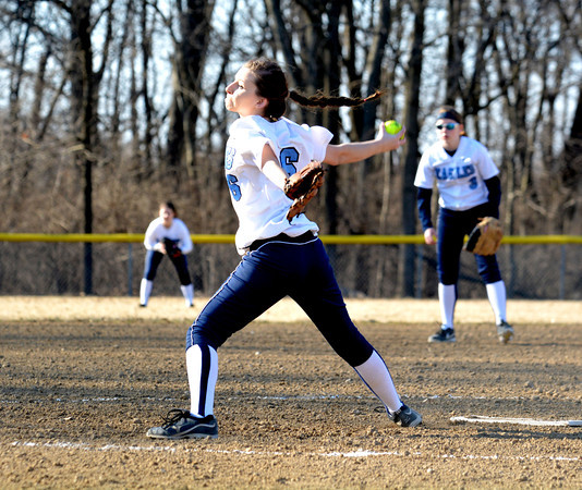 St. Elmo/Brownstown pitcher Baylee Scholes goes through her delivery during the Eagles' loss to Teutopolis.