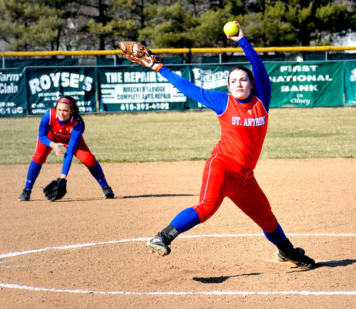 St. Anthony pitcher Jenna Woltman goes through her delivery against Olney in a Bulldogs win.