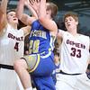 3-3-15<br /> Tri Central vs Clinton Prairie basketball<br /> Tri Central's Dillon Smith goes to the net.<br /> Kelly Lafferty Gerber | Kokomo Tribune
