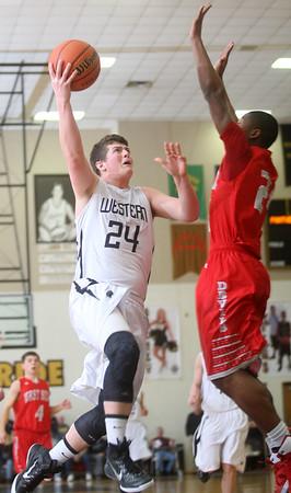 3-4-15<br /> Western vs West Lafayette<br /> Western's Austin Weaver goes up for a shot.<br /> Kelly Lafferty Gerber | Kokomo Tribune