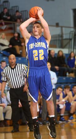 3-3-15<br /> Tri Central vs Clinton Prairie basketball<br /> Tri Central's Colten Leininger shoots.<br /> Kelly Lafferty Gerber | Kokomo Tribune