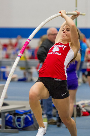 St. Anthony's Kristin Slaughter makes her approach during the pole vault at EIU.