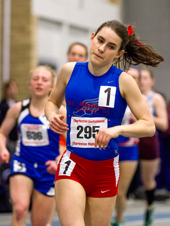 St. Anthony's Anna Sophia Keller rounds the curve at the Lantz Field House in Charleston during the 800-meter run, which she won with a time of 2:16.24.