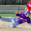 Brownstown/St. Elmo's Lewis Brown is called safe at second after second baseman Trevor Easton attempts the tag.