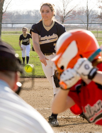 Teutopolis' Kadi Borries watches her release against Sullivan. Not only did she earn a win from the mound, but also from the plate, driving in the game-winning run during the seventh inning.