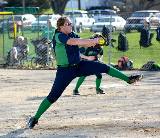 Windsor/Stew-Stras' Calla Roney goes through her delivery during the Hatchets' season-opening win over Central A&M.