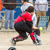 Cumberland's Jade McMechan collides with Sullivan catcher Makenzie Ruppert during the third inning.