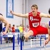 Jacob Bushue clears the final hurdle during the 60-meter hurdles at the EIU indoor invite.