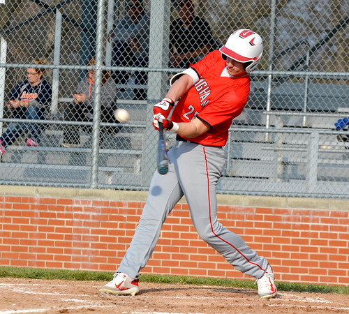 Effingham's Zach Lee connects for a double during the Flaming Hearts' win over Newton at Paul Smith Field.
