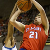 St. Anthony's Adam Levitt, right, drives the baseline during the first half of the Class 1A state semifinal in Peoria.