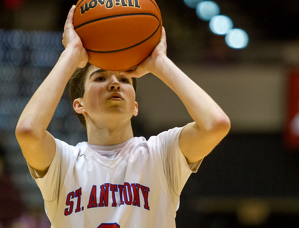 St. Anthony's Cade Walsh focuses prior to his release at the free throw line late in the fourth quarter of the Class 1A SIU Super-Sectional against Woodlawn.