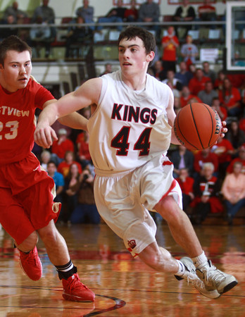 3-22-14<br /> Cass vs. Westview Semi-State<br /> Blake Hadley races toward the basket for Lewis Cass.<br /> KT photo | Kelly Lafferty