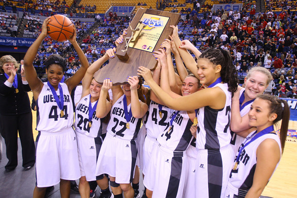 3-8-14  ---  State Girls Championship. Western girls cheer after winning the state Championship in Terre Haute. -- <br /> KT photo   Tim Bath